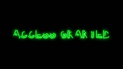 Neon flickering green common expression ACCESS GRANTED in... Stock Video Footage