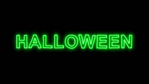 Neon flickering green text HALLOWEEN in the haze. Alpha channel Premultiplied - Animation