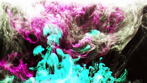 Colorful Ink Paint Drops Splash in Underwater 25 Footage