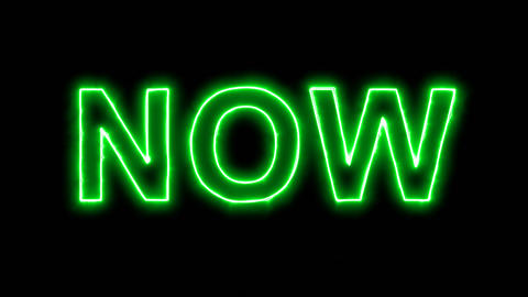 Neon flickering green text NOW in the haze. Alpha channel Premultiplied - Matted Animation