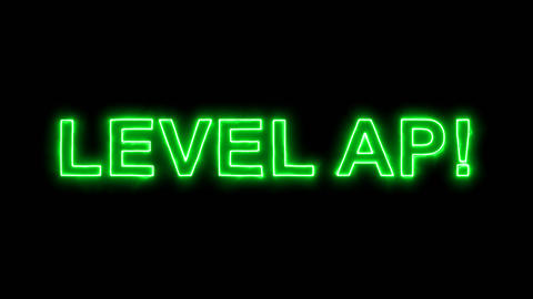 Neon flickering green common expression LEVEL AP! in the haze. Alpha channel Animation