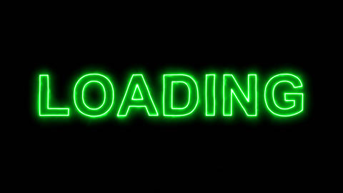 Neon flickering green text LOADING in the haze. Alpha channel Premultiplied - Animation