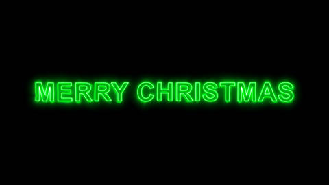 Neon flickering green congratulation MERRY CHRISTMAS in the haze. Alpha channel Animation