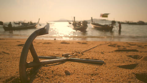 Timelapse: Anchor and Traditional Long-tail Boats at Rawai Beach. Phuket Footage