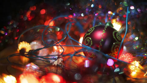 Christmas and New Year Decoration. Hanging Bauble close up. Abstract Blurred Footage
