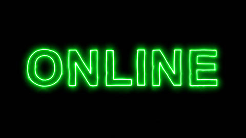 Neon flickering green text ONLINE in the haze. Alpha channel Premultiplied - Animation