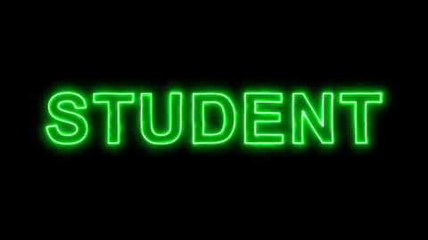 Neon flickering green text STUDENT in the haze. Alpha channel Premultiplied - Animation