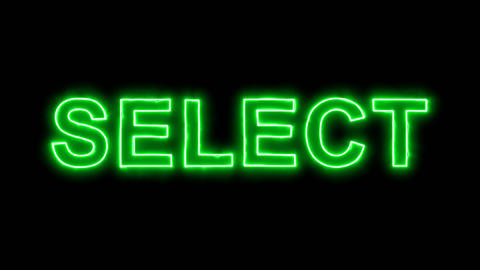 Neon flickering green text SELECT in the haze. Alpha channel Premultiplied - Animation