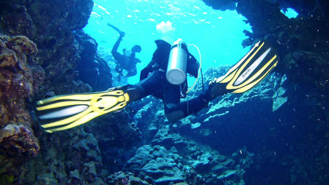 Scuba divers leaving a cave in the Red Sea GIF