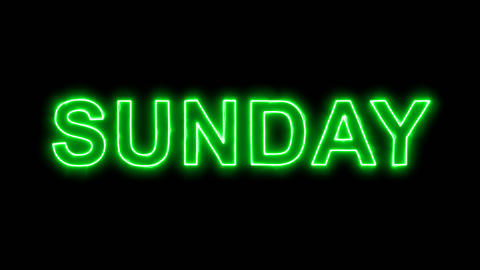 Neon flickering green day of the week SUNDAY in the haze. Alpha channel Animation
