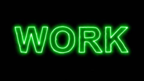 Neon flickering green text WORK in the haze. Alpha channel Premultiplied - Animation