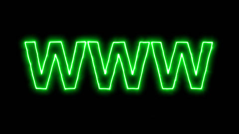 Neon flickering green text WWW in the haze. Alpha channel Premultiplied - Matted Animation