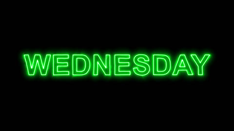 Neon flickering green day of the week WEDNESDAY in the haze. Alpha channel Animation