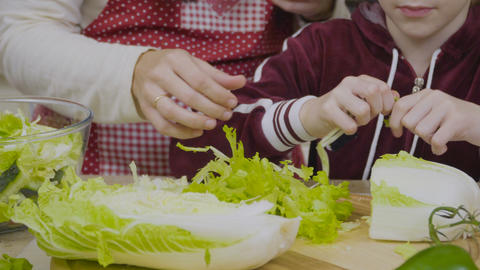Little girls with mother tears a pe-tsai for salad and put it into a bowl Footage