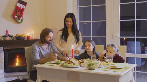 Happy family at the christmas table Footage