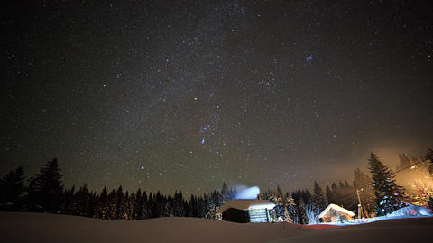 Little House on the background of the starry sky in winter Footage