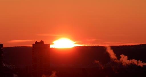 Sunrise closeup. Real Time. Ekaterinburg, Russia Stock Video Footage