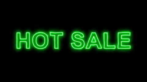 Neon flickering green text HOT SALE in the haze. Alpha channel Premultiplied - Animation
