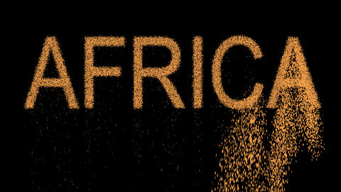 continent name AFRICA appears from the sand, then crumbles. Alpha channel Animation