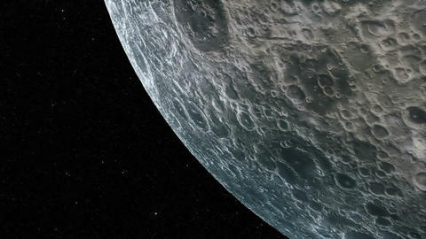 Flight over the surface of the Moon on stars background. Loopable Animation
