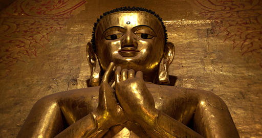 Golden Buddha Statue in an Ancient Temple at Bagan Archaeological Area GIF