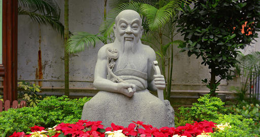 Buddhist Statue at a Park in Hong Kong. China GIF