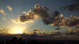Sunset with clouds, time lapse Footage