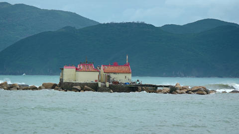 Small Buddhist Temple on the Tiny Island of Hon Du in Vietnam Live Action