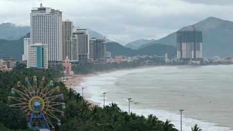 Overlooking Vista of Nha Trang. Vietnam's Coastline and Cityscape GIF
