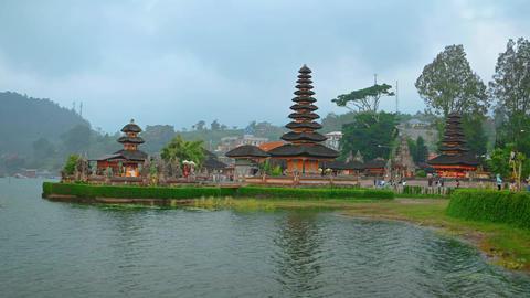 Tourists Visiting Pura Ulun Danu Bratan Temple in Bali. Indonesia Footage