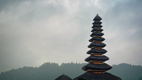 Cloudy sky over Pura Ulun Danu Bratan Temple in Bali GIF