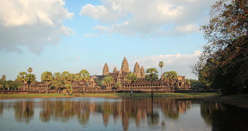 Abstract. Timelapse Flyby of Angkor Wat Temple in Cambodia GIF