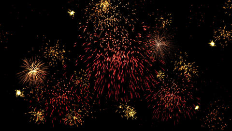 Colorful lights, multiple fireworks explosion, holiday night sky Animation