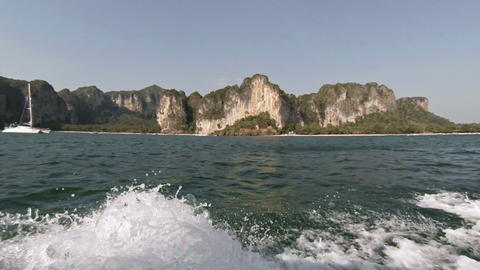 Cruising Past Limestone Seacliffs in Thailand from an Onboard Perspective Live Action