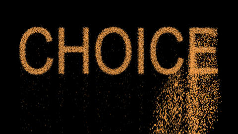text CHOICE appears from the sand, then crumbles. Alpha channel Premultiplied - Animation