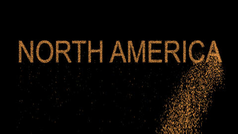 continent name NORTH AMERICA appears from the sand, then crumbles. Alpha channel Animation