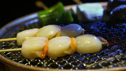 scallop Scallops on screwers with charcoal seafood barbecue Footage