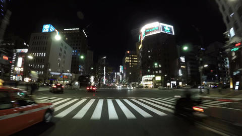 Driver's POV of the newly constructed Kabuki Theater in the heart of Ginza distr Footage