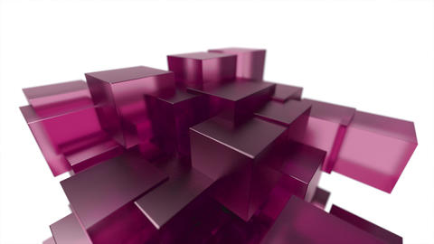 Glass blocks cubes floating interlocking abstract tech motion background loop 4k Footage