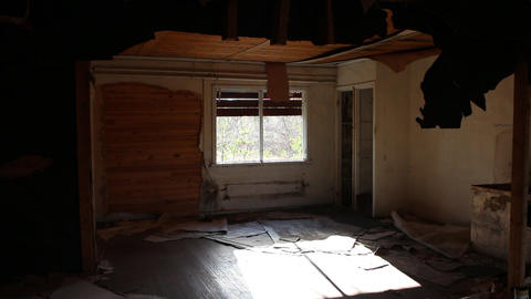 empty room with a partially boarded up window Footage
