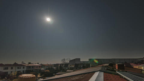 Partial Solar Eclipse Germany Rooftop Astronomy Timelapse Footage