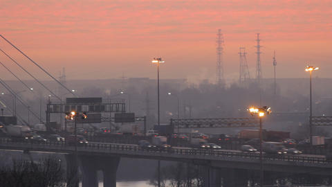 Road Traffic At Dawn stock footage