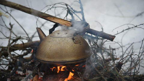 kettle boiling on the bonfire Footage