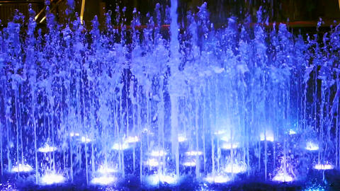Video of Beautiful colorful lighting fountain at night Footage