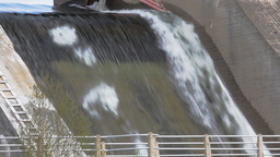 Powerful water discharge through gate of power plant Footage