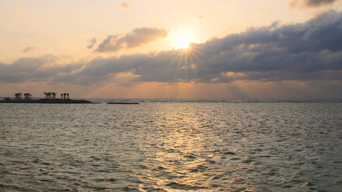 Beautiful sunset cloudscape over the ocean in Okinawa Footage