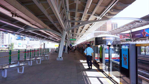 Thailand, Bangkok, October 2015: Bangkok metro Sky Train Station. people getting Footage