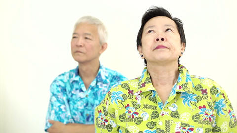 Video Asian Senior Couple Fighting, Pouting And Get Upset To Each Other On Holid stock footage