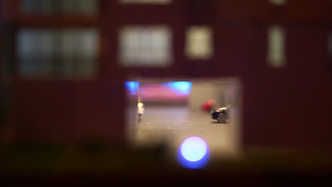 Car entrance of an apartment condominium building for parking vehicles miniature Footage