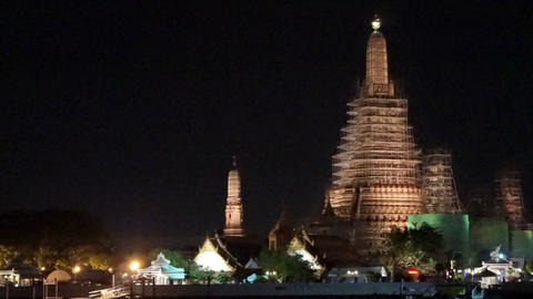 Wat Arun Temple under construction Bangkok, Thailand at night Footage